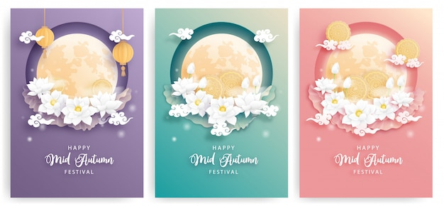 Happy mid autumn festival card set with beautiful lotus flower and full moon, colorful background. paper cut illustration.