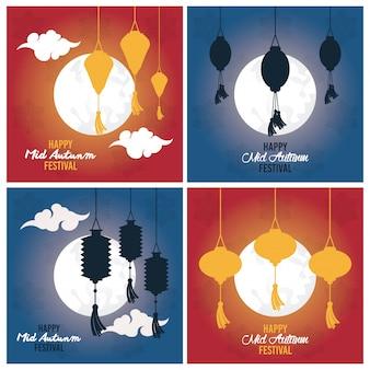 Happy mid autumn festival card set