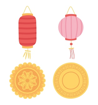 Happy mid autumn festival, chinese lanterns and mooncakes icons