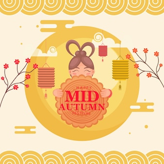 Happy mid autumn festival concept with chinese girl holding moon cake, flower branches and hanging lanterns on yellow background.