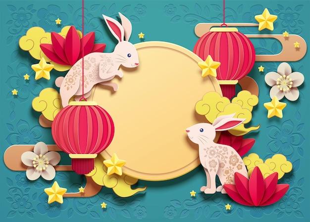 Счастливый дизайн фестиваля середины осени с бумажными кроликами и красными фонарями на бирюзовом фоне
