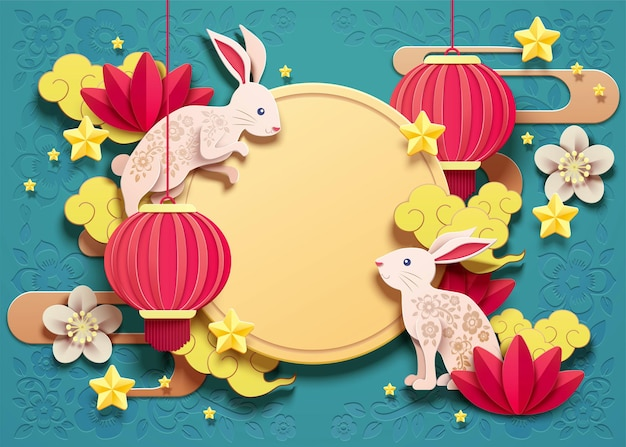 Happy mid autumn festival design with paper art rabbits and red lanterns on turquoise background