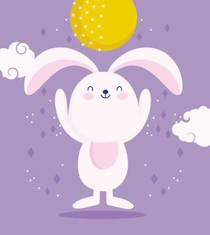 幸せな中秋節、満月のかわいいウサギと雲の漫画、祝福と幸福