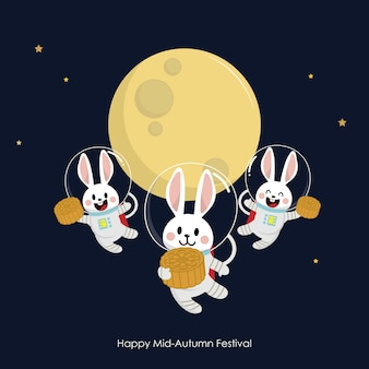 Happy mid autumn festival greeting card with cute rabbit and moon cake.