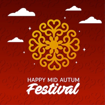 Happy mid autumn festival ornament red background