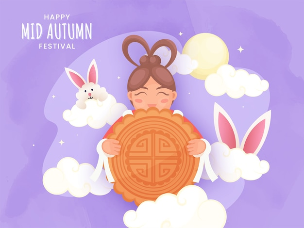 Happy mid autumn festival poster design with chinese girl holding a mooncake, cartoon bunny, clouds and full moon on purple background.