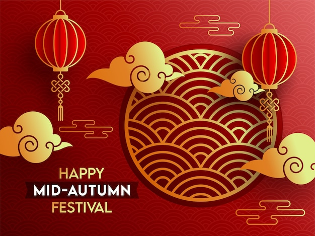 Happy mid-autumn festival poster design with paper cut chinese lanterns hang and golden clouds on red overlapping semi circle background.