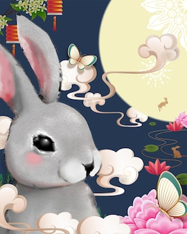 Happy mid autumn festival poster with giant grey fluffy rabbit on blue background