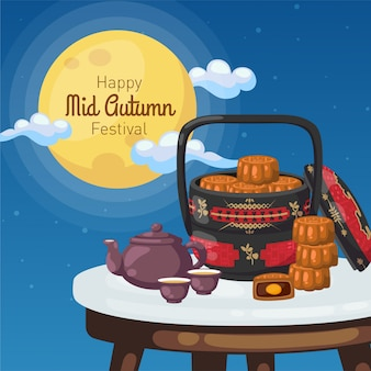 Happy mid-autumn festival poster