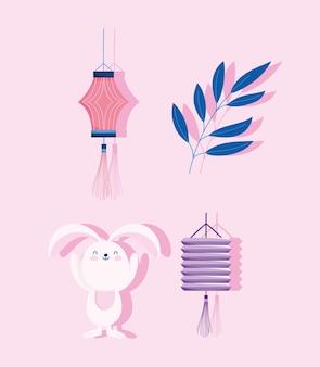 中秋節、うさぎ提灯の枝飾り、祝福と幸福