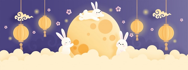 Happy mid autumn festival with cute bunny and full moon, lantern.
