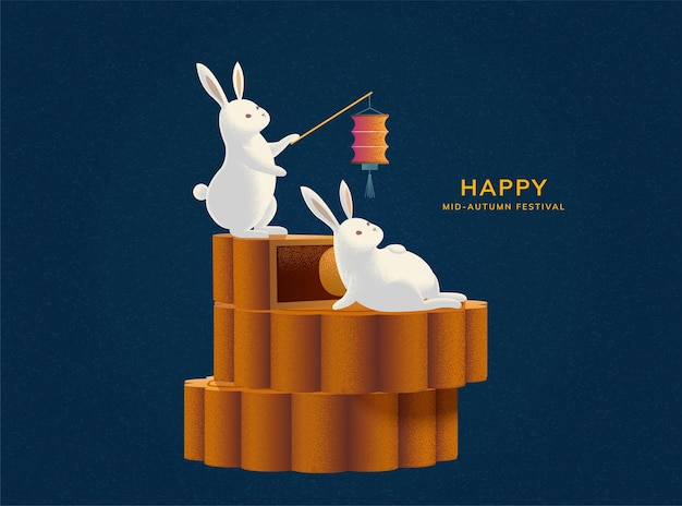 Happy mid-autumn festival with cute rabbits on mooncake