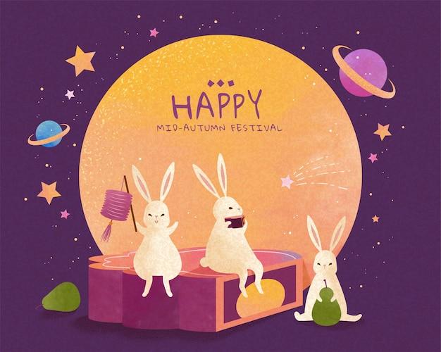 Счастливый праздник середины осени с милыми нефритовыми кроликами, которые сидят на гигантском лунном пироге и наслаждаются просмотром луны