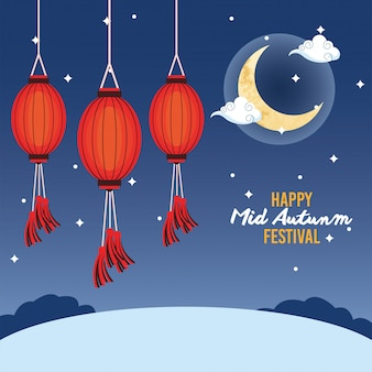 Happy mid autumn festival with moon and lanterns hanging
