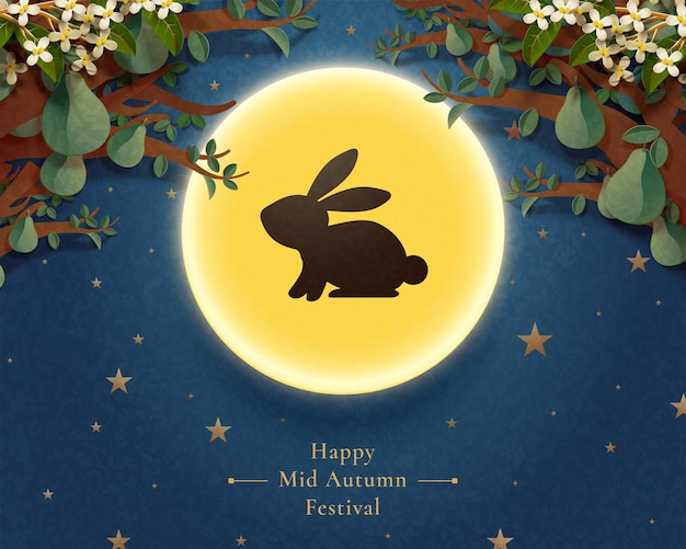 Happy mid autumn festival with rabbit silhouette on the full moon