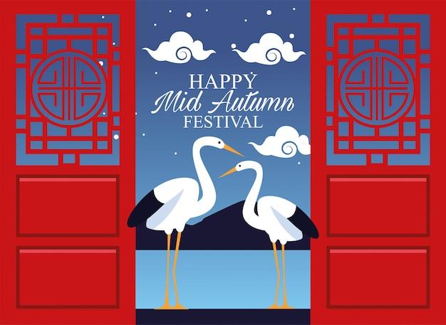 Happy mid autumn festival with storks in door