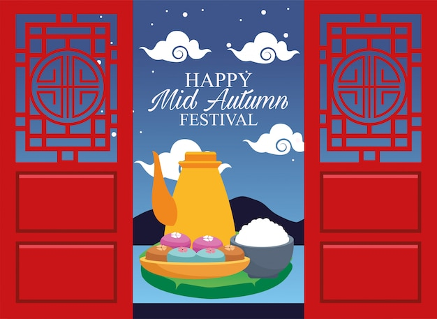 Happy mid autumn festival with teapots and sweet cupcakes