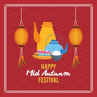 Happy mid autumn festival with teapots