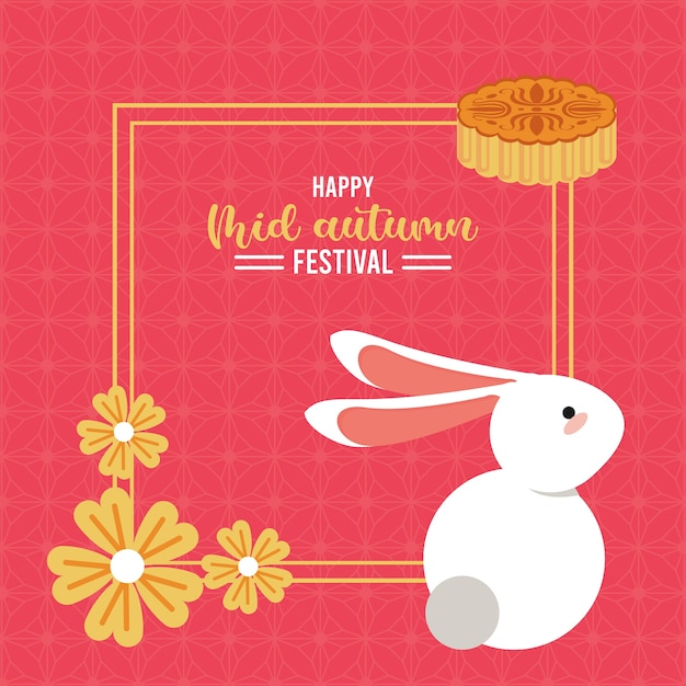Happy mid autumn lettering card with rabbit and flowers square frame.