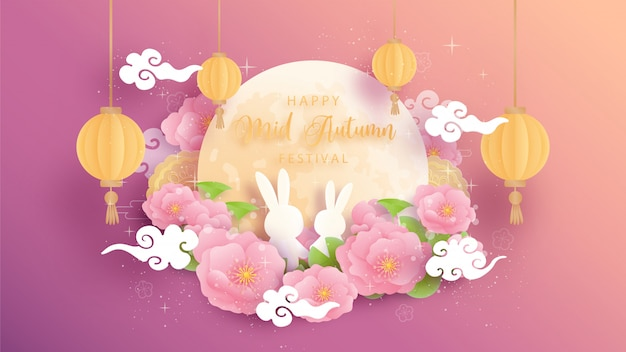 Happy mid autumn with beautiful lotus and full moon, cute bunny.   illustration