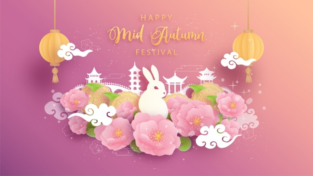 Happy mid autumn with beautiful lotus and full moon.   illustration