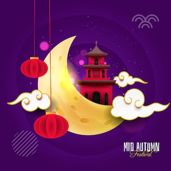 Happy mid autumn with mood and lantern
