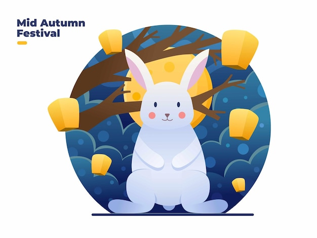 Happy midautumn festival illustration with cute rabbits on night and full moon