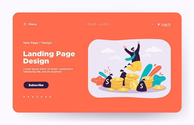 Happy millionaire jumping near pile of coins landing page