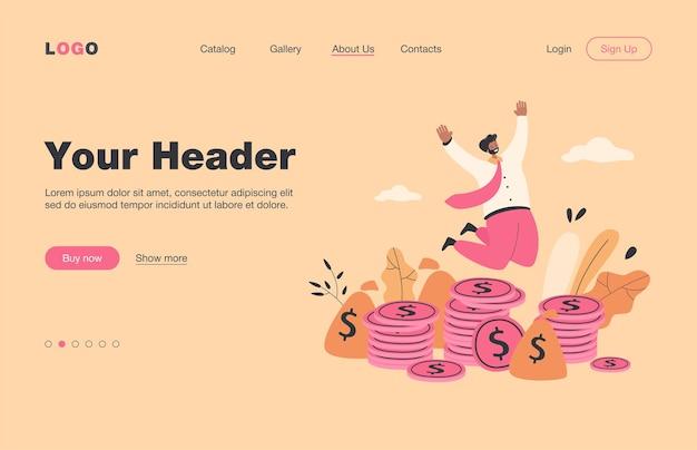 Счастливый миллионер прыгает возле кучи монет плоской целевой страницы .. мультяшный бизнесмен или банкир празднует рост доходов. концепция финансов и фондового рынка
