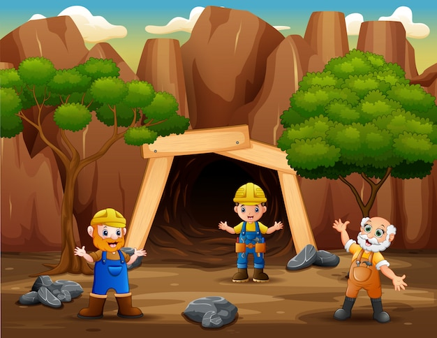 Happy miners after work in a mine