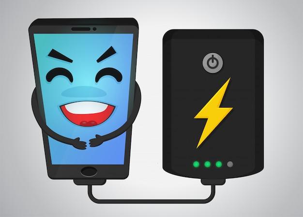 Happy mobile phone cartoon