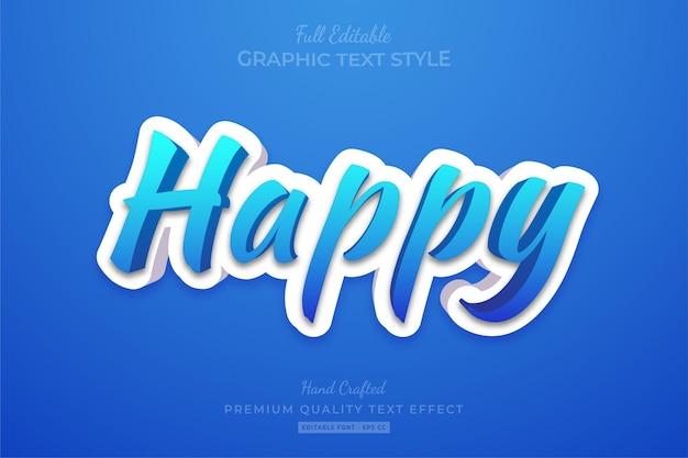 Счастливый современный 3d редактируемый текстовый эффект стиля шрифта