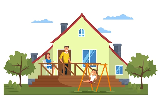 Happy modern family in front of house flat illustration, mother, father, son cartoon characters, private house with yard exterior, facade. children swing. own property, real estate