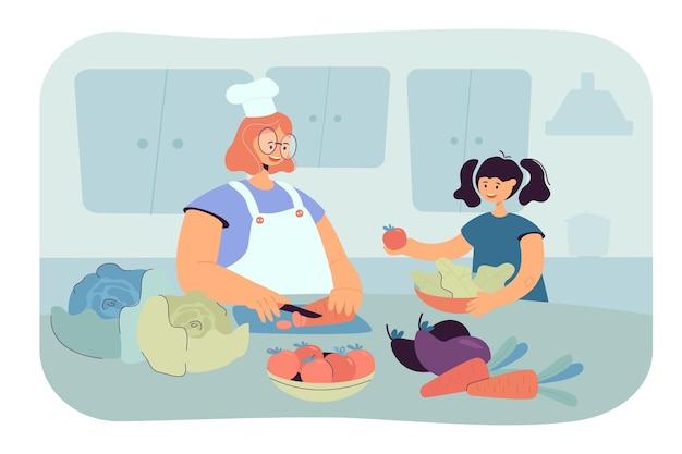 幸せなママと娘の子供がキッチンで一緒にサラダを調理します