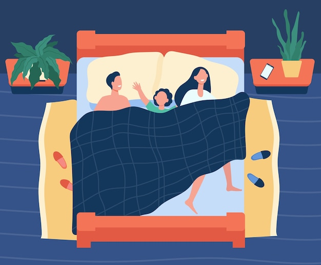 Happy mom, dad and kid sleeping together isolated flat illustration.