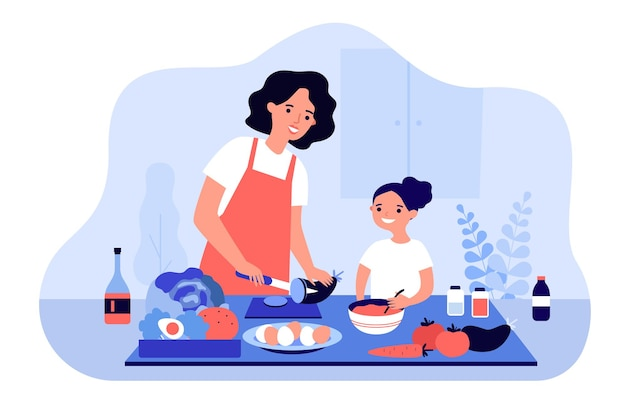 Happy mom and daughter cooking vegetables together isolated flat illustration