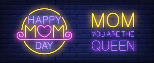 Happy mom day neon sign. text with pink heart instead of o letter in yellow circle.