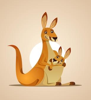 Happy mom kangaroo character and kangaroo child flat cartoon illustration