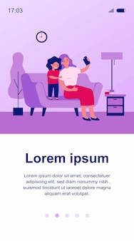 Happy mom and sweet daughter taking selfie on smartphone illustration