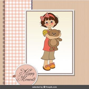 귀여운 소녀와 함께 행복 한 순간 카드