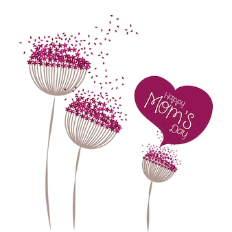 Happy moms day greeting card floral