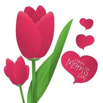 Happy moms day tulip flower ornament card