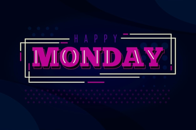 Happy monday background with lines and dots