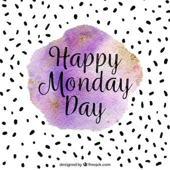 Счастливый понедельник, фон с акварелью
