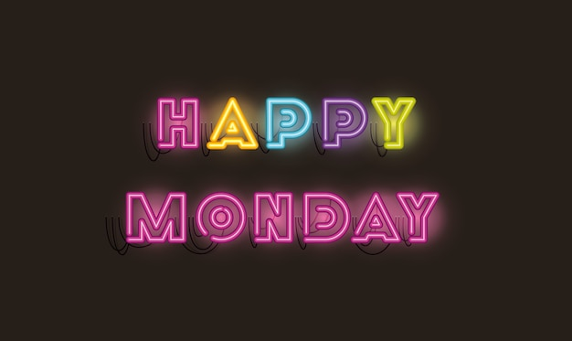 Happy monday fonts neon lights