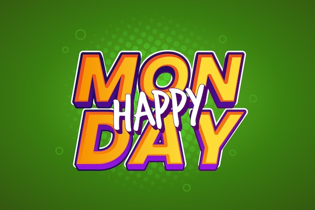 Happy monday green background