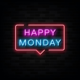 Happy monday  neon signs vector. design template neon style