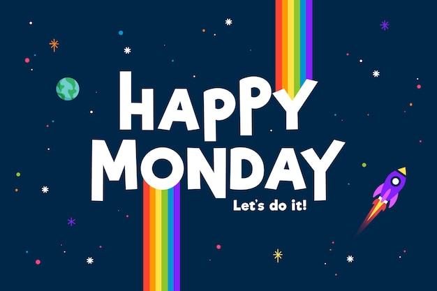 Happy monday space with spaceship background