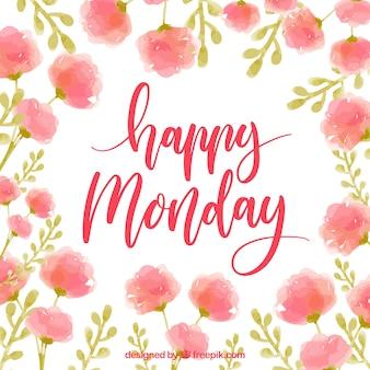 Happy lunedì acquerello fiori sfondo