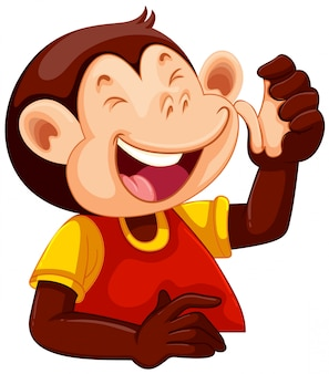 A happy monkey character
